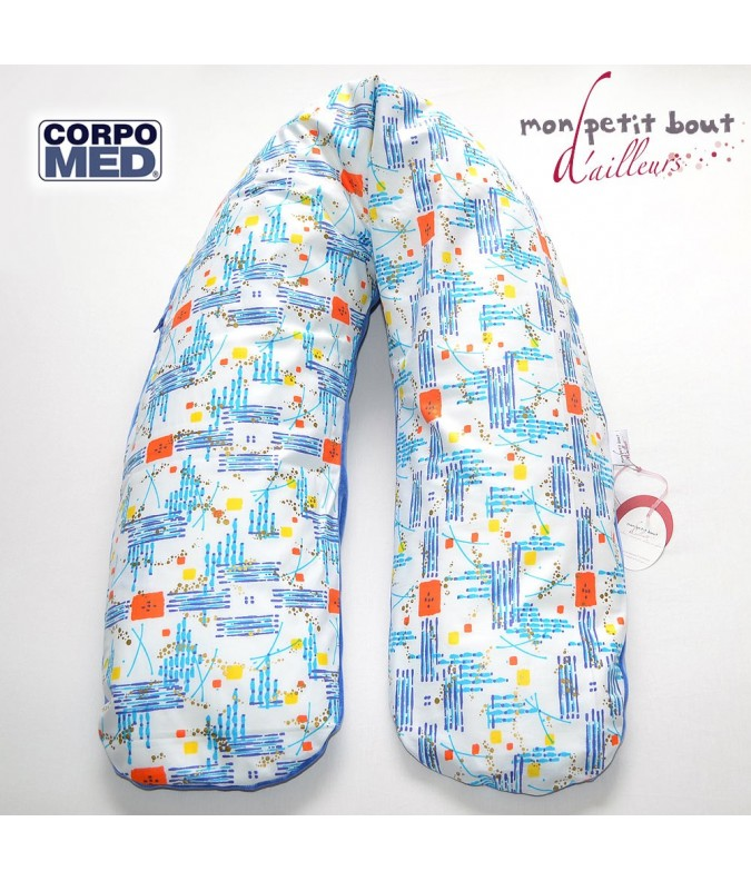 Coussin d'Allaitement Corpomed + Housse Marcory Bleu Orange