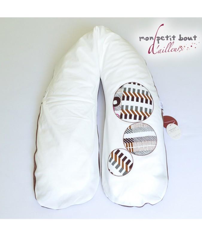 Coussin d'Allaitement +Housse Tabou Bulles Blanc Marron