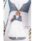 Tour de lit bébé Man Bleu Blanc
