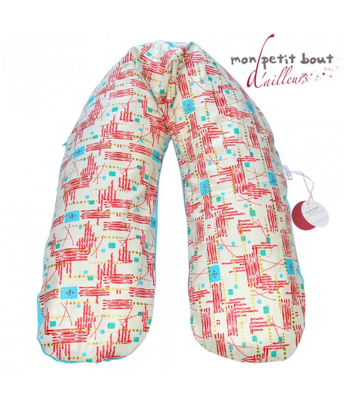 Coussin d'Allaitement Noenza Maternity + Housse Marcory Turquoise Rouge