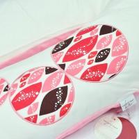 Coussin d'Allaitement + Housse Azuretti Bulles Rose Blanc